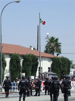 Mexican Flag Over Post Office