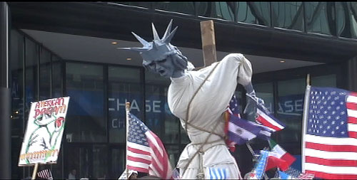 Lady Liberty Blow Up Doll Tied To Pole