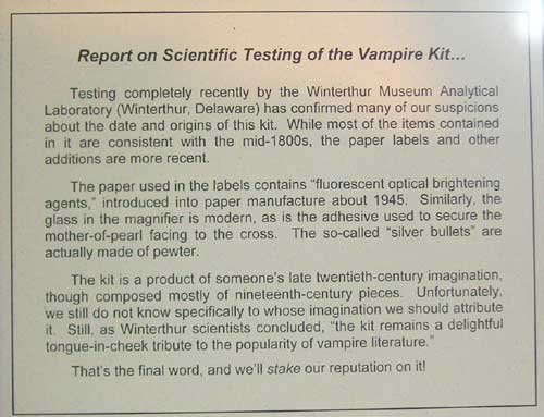 Mercer Museum Vampire Killing Kit Scientific Study