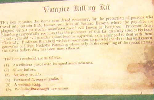 Mercer Museum Vampire Killing Kit Label
