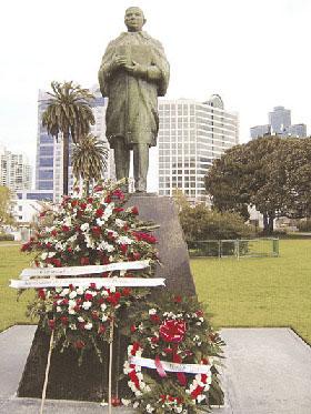 Statue of Benito Juarez in Pantoja Park