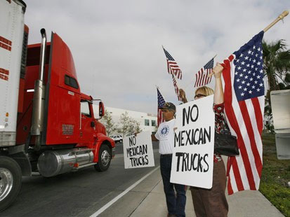 Minutemen Robin and Raymond Protest Mexican Trucks
