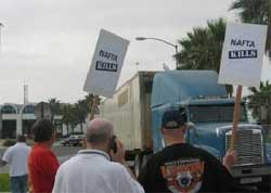 Teamsters Protest Mexican Trucks