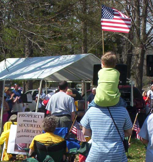 Washington Crossing Tea Party Boy With Flag