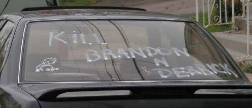 A Car Window Calls For The Killing of Brandon Piekarsky and Derrick Donchak